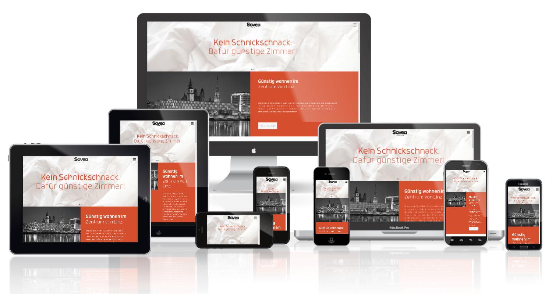 Sovea Webseite - Darstellung auf 9 verschiedenen Endgeräten